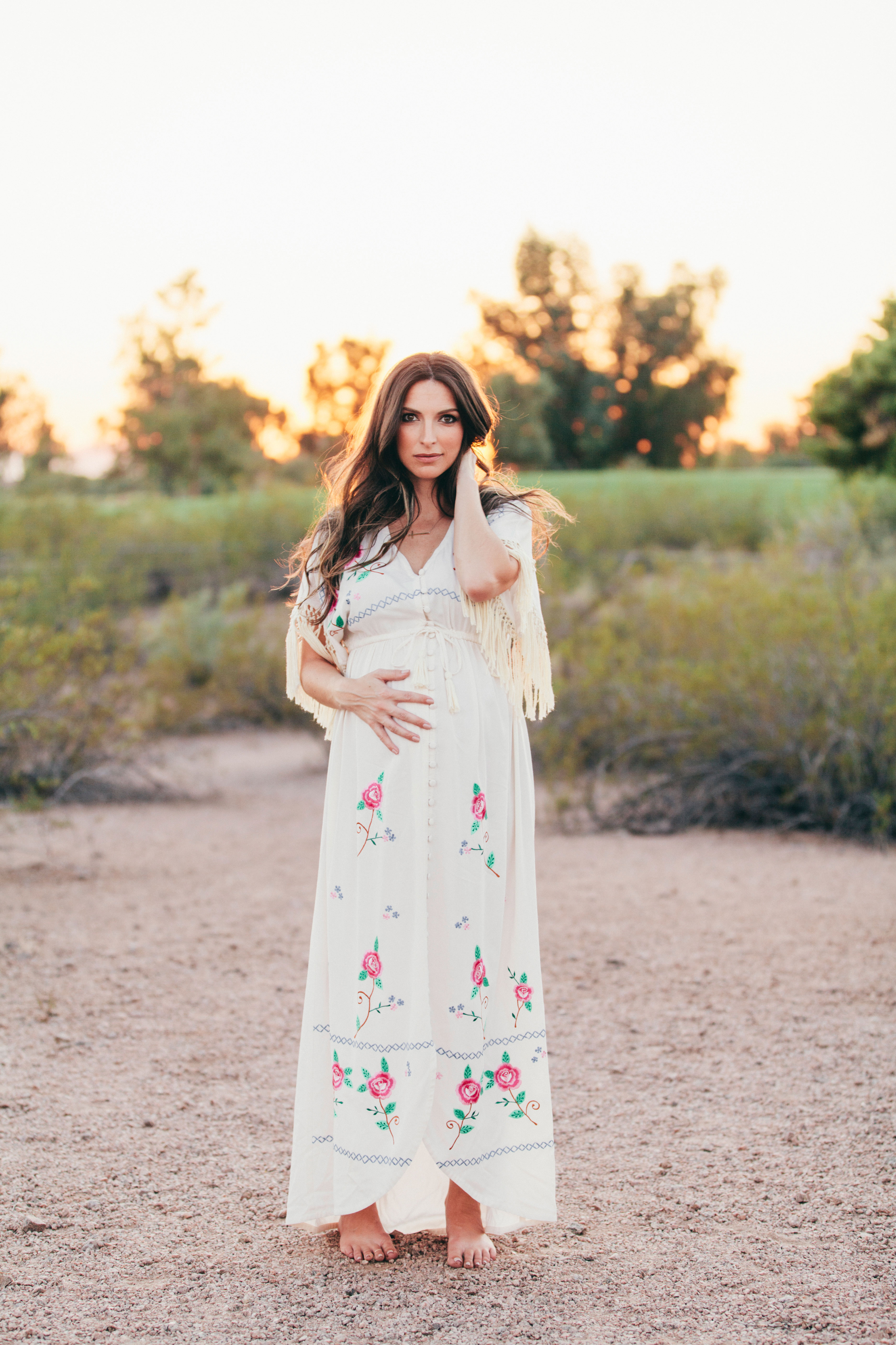 Fillyboo Maternity Dress and a desert bohemian sunset maternity session with Kate Nelle Photography at Papago Park